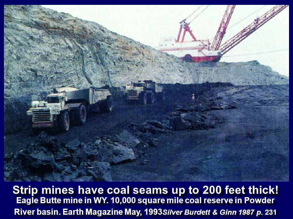 Strip mines have coal seams up to 200 feet thick! Eagle Butte mine in WY. 10,000 square mile coal reserve in Powder River basin. Earth Magazine May, 1