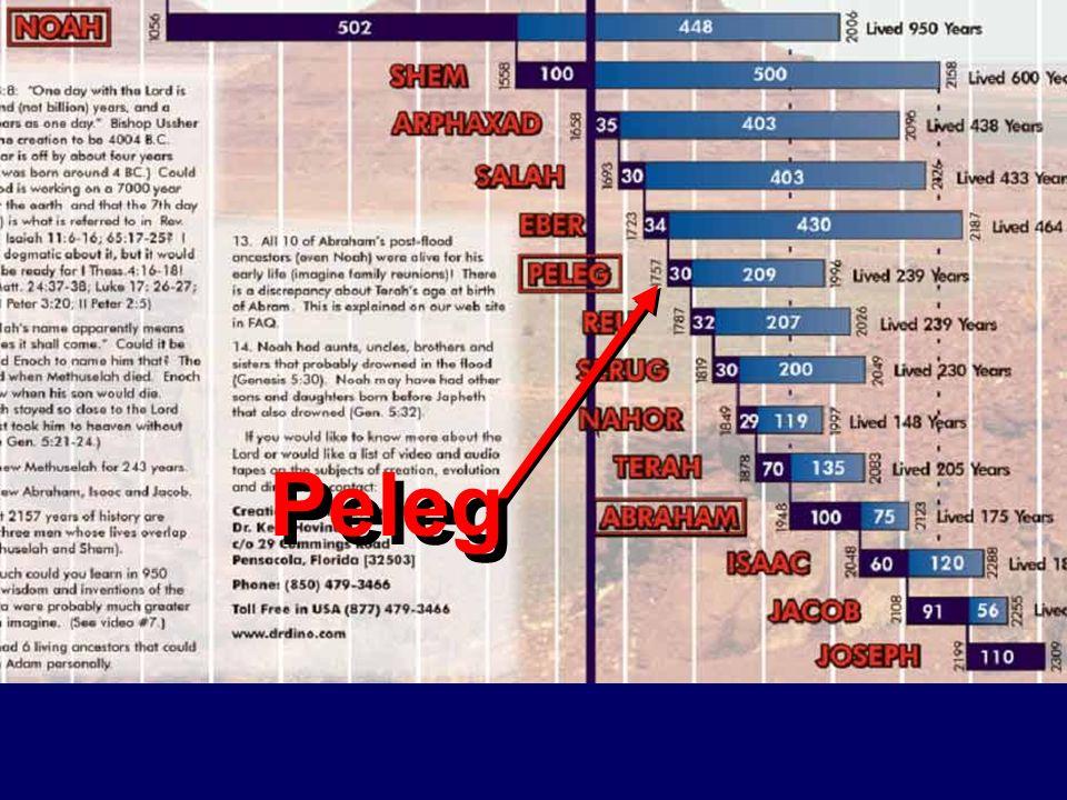Antediluvian life span chart Peleg