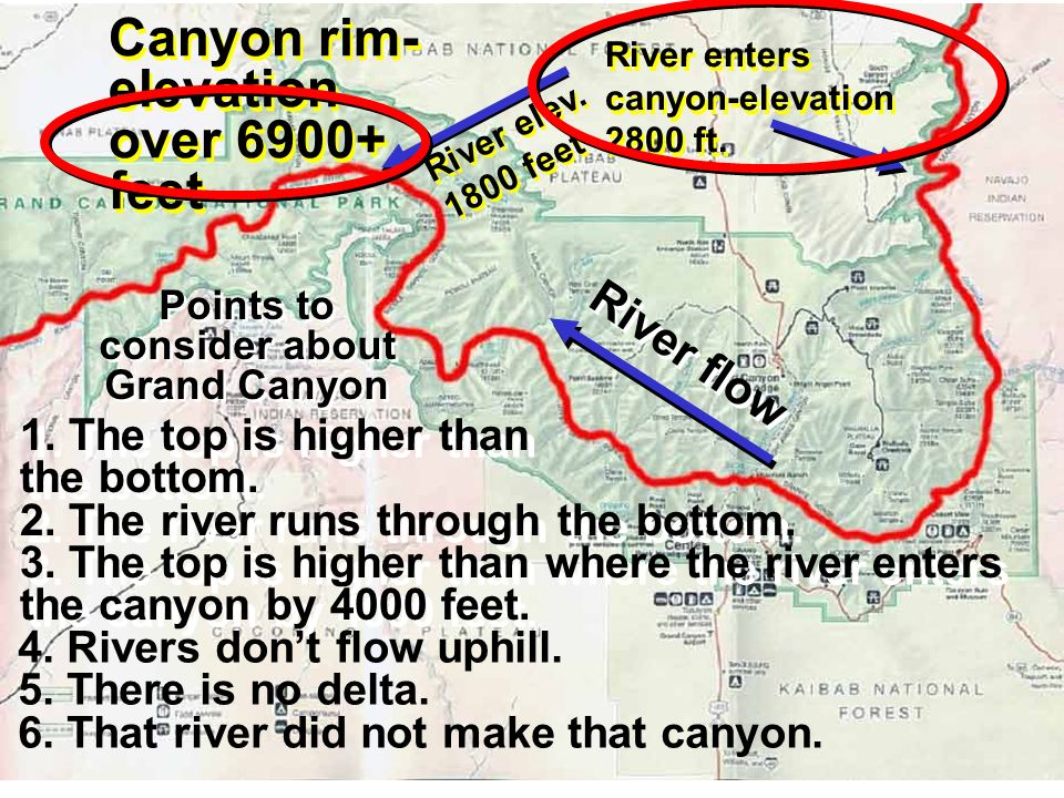 River flow River enters canyon-elevation 2800 ft. Canyon rim- elevation over 6900+ feet River elev. 1800 feet Points to consider about Grand Canyon 1.