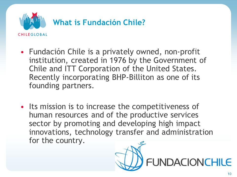 Haga clic para cambiar el estilo de títu 10 What is Fundación Chile? Fundación Chile is a privately owned, non-profit institution, created in 1976 by