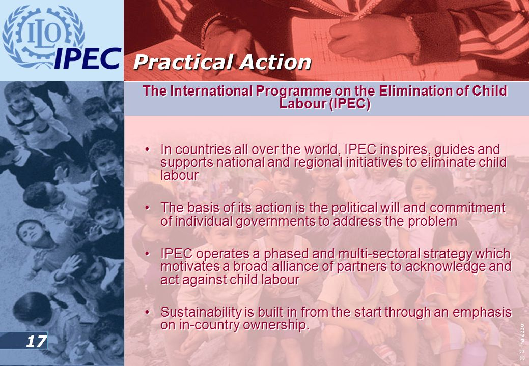 16 The International Programme on the Elimination of Child Labour (IPEC) Launched in 1992 Main objective: the progressive elimination of child labour