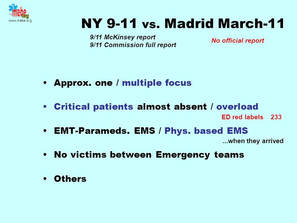 www.mebe.org The key While Police and Fire-Rescue Emergency could finish on focus EMS Emergency does NOT finish on scene Critical-bed needs coordinati