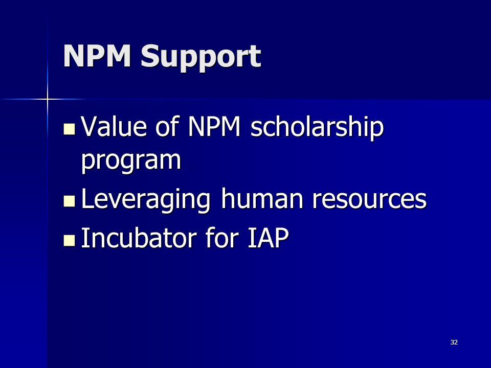 32 NPM Support Value of NPM scholarship program Value of NPM scholarship program Leveraging human resources Leveraging human resources Incubator for I