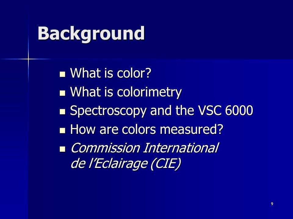 9 Background What is color? What is color? What is colorimetry What is colorimetry Spectroscopy and the VSC 6000 Spectroscopy and the VSC 6000 How are