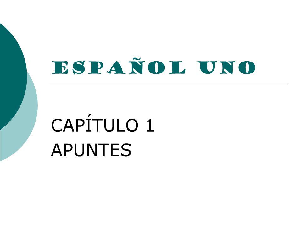 ESPAÑOL UNO CAPÍTULO 1 APUNTES