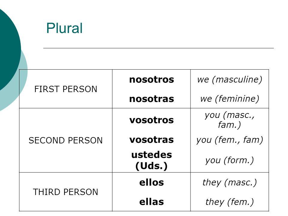 FIRST PERSON nosotros we (masculine) nosotras we (feminine) SECOND PERSON vosotros you (masc., fam.) vosotras you (fem., fam) ustedes (Uds.) you (form