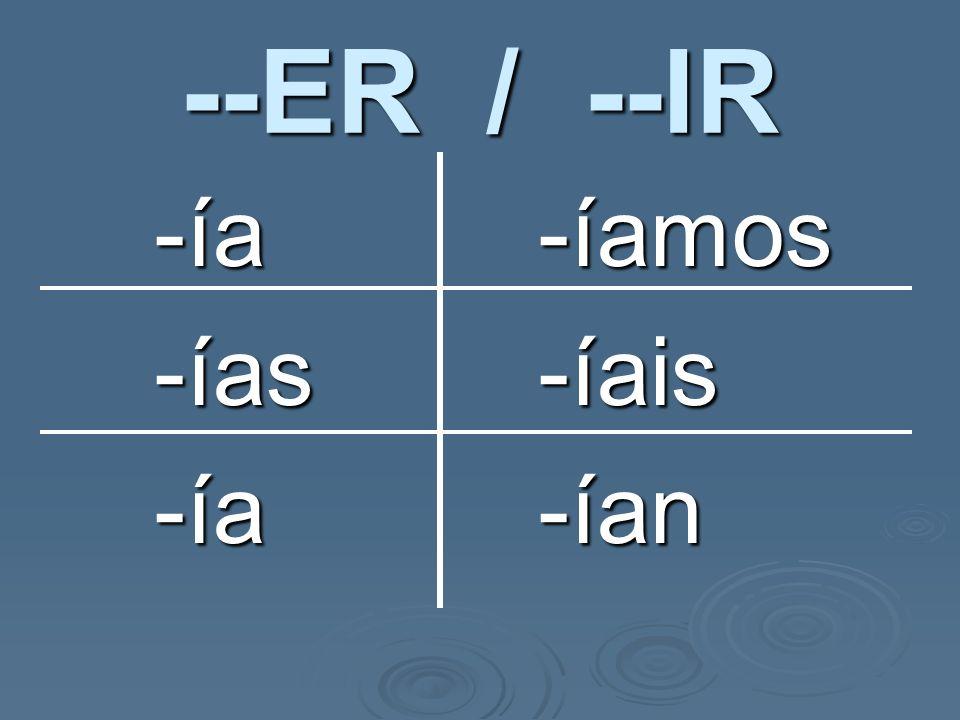 ¡OJO! ¡OJO! The yo & él, ella, Ud. forms are identical. The yo & él, ella, Ud. forms are identical.