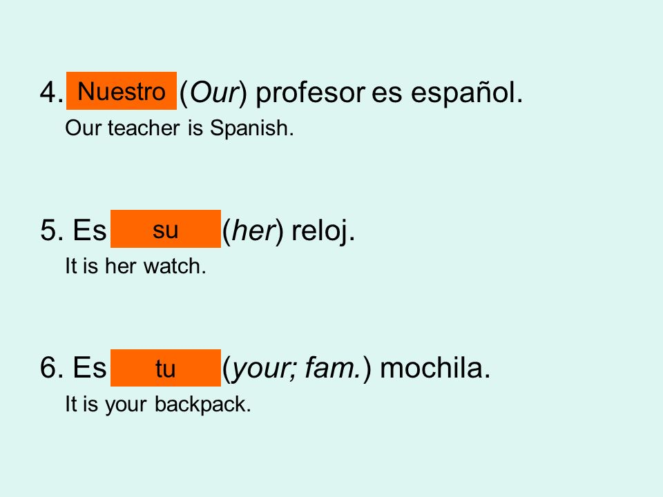 4. ______ (Our) profesor es español. Our teacher is Spanish. 5. Es ______ (her) reloj. It is her watch. 6. Es ______ (your; fam.) mochila. It is your