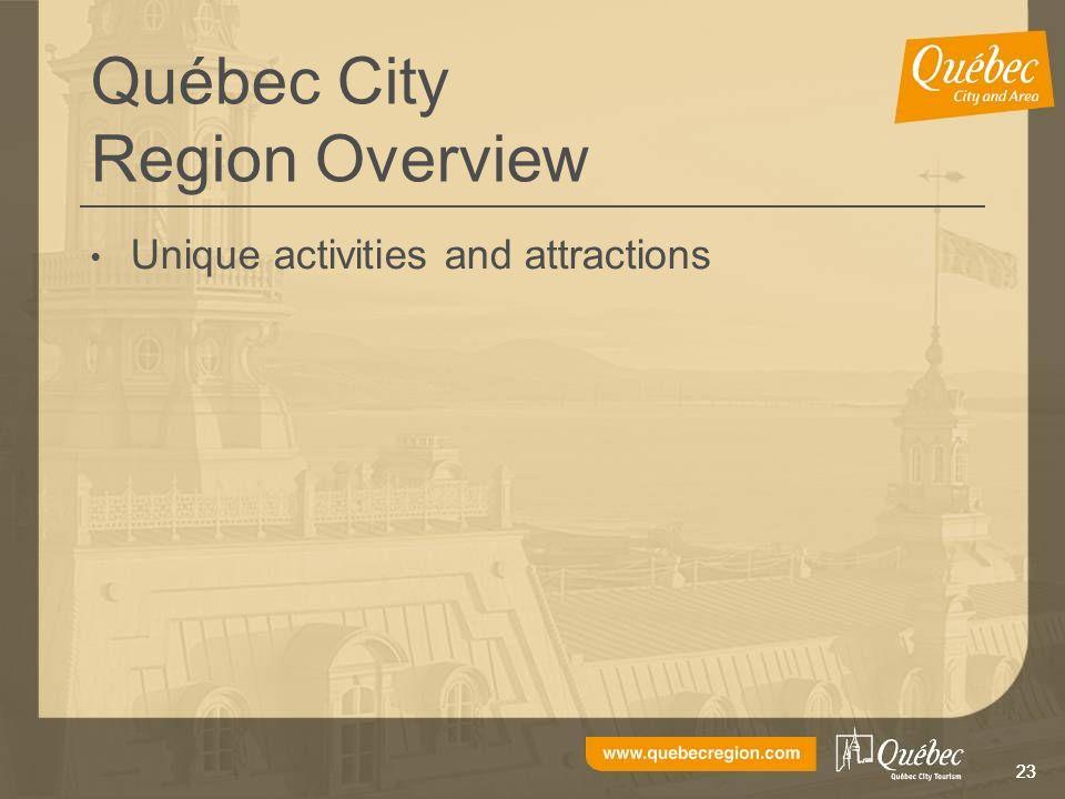 23 Québec City Region Overview Unique activities and attractions