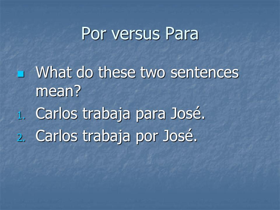 Por versus Para If you said por for each of the above, you were correct! If you said por for each of the above, you were correct!