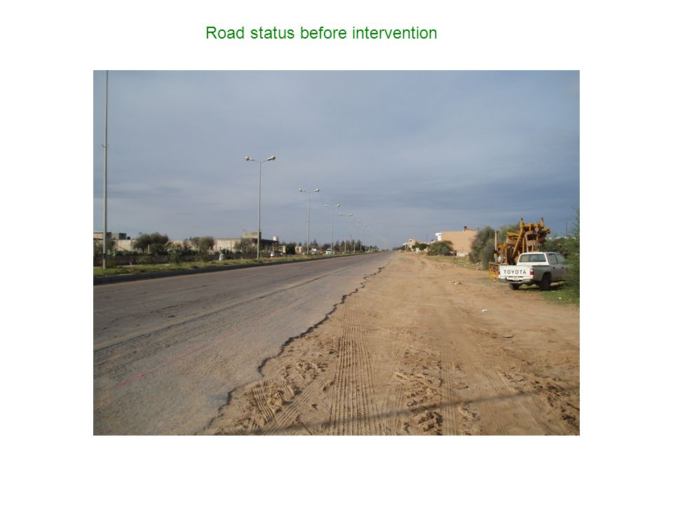 Road status before intervention