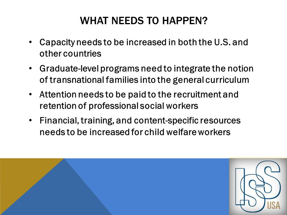 WHAT NEEDS TO HAPPEN? Capacity needs to be increased in both the U.S. and other countries Graduate-level programs need to integrate the notion of tran
