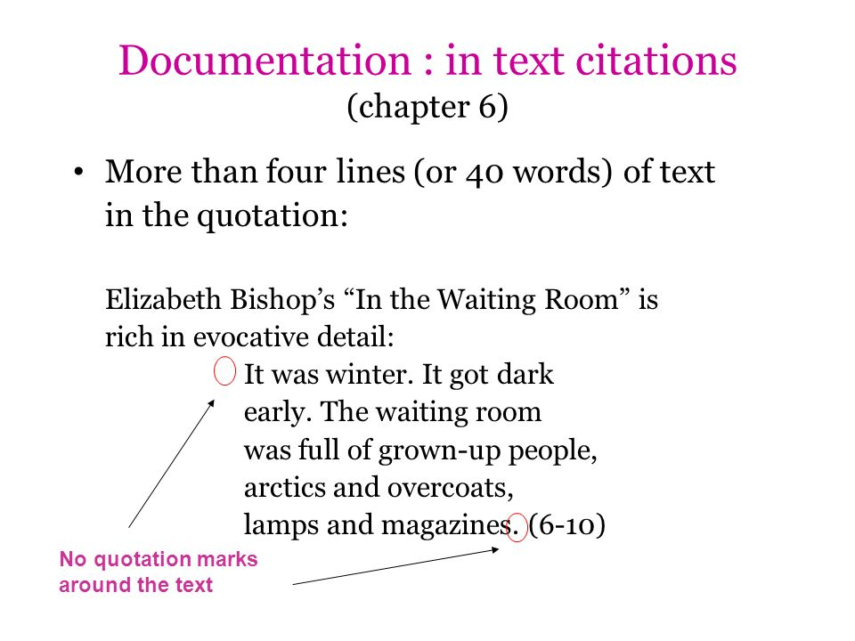 More than four lines (or 40 words) of text in the quotation: Elizabeth Bishops In the Waiting Room is rich in evocative detail: It was winter. It got