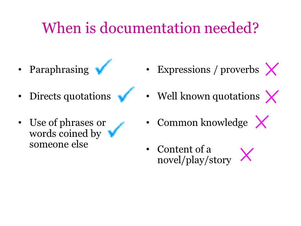When is documentation needed? Paraphrasing Directs quotations Use of phrases or words coined by someone else Expressions / proverbs Well known quotati