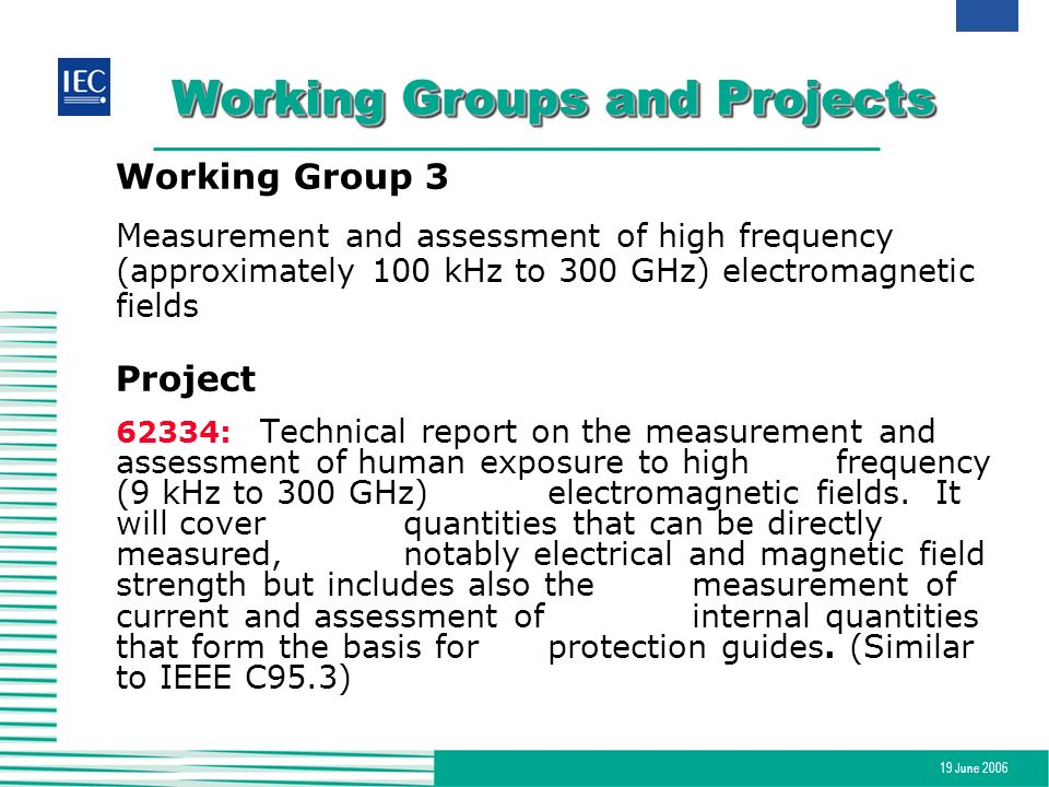 19 June 2006 Working Groups and Projects Working Group 3 Measurement and assessment of high frequency (approximately 100 kHz to 300 GHz) electromagnet