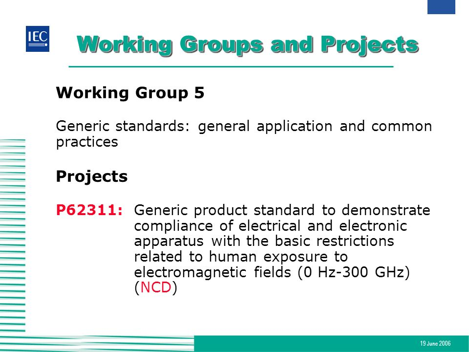 19 June 2006 Working Groups and Projects Working Group 5 Generic standards: general application and common practices Projects P62311:Generic product s