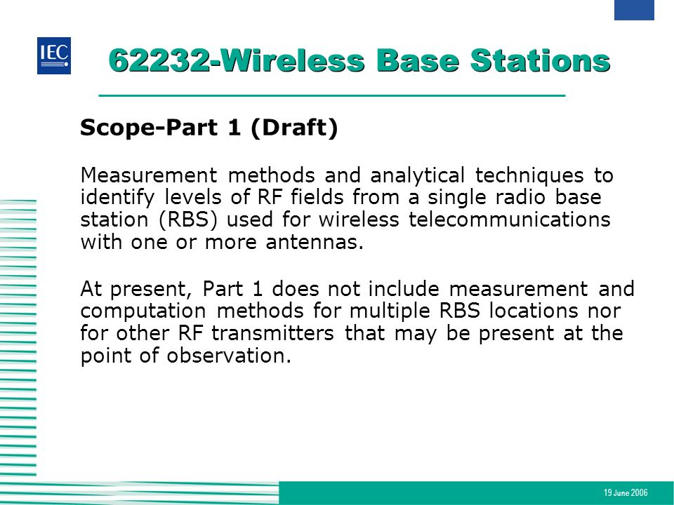 19 June 2006 62232-Wireless Base Stations Scope-Part 1 (Draft) Measurement methods and analytical techniques to identify levels of RF fields from a si
