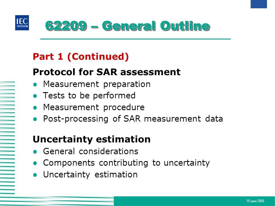 19 June 2006 62209 – General Outline Part 1 (Continued) Protocol for SAR assessment l Measurement preparation l Tests to be performed l Measurement pr
