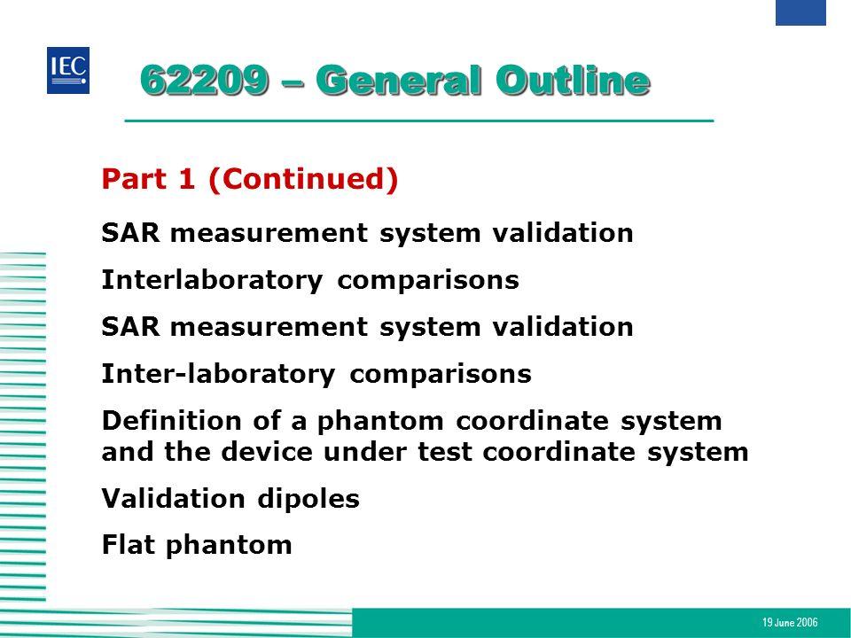 19 June 2006 62209 – General Outline Part 1 (Continued) SAR measurement system validation Interlaboratory comparisons SAR measurement system validatio
