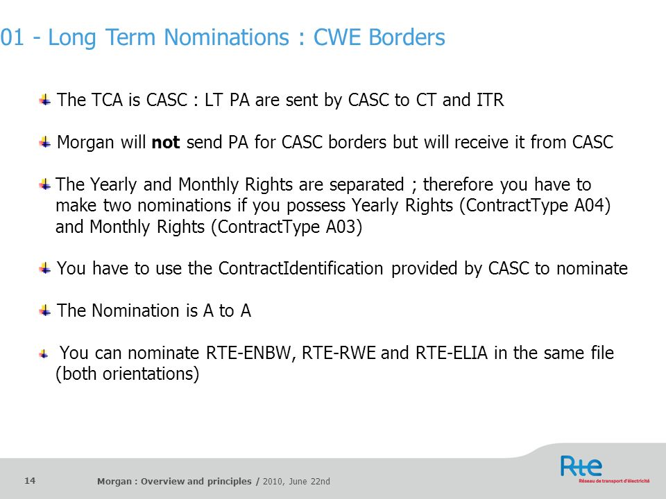 Morgan : Overview and principles / 2010, June 22nd 14 The TCA is CASC : LT PA are sent by CASC to CT and ITR Morgan will not send PA for CASC borders
