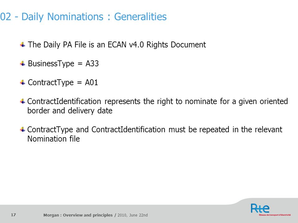 Morgan : Overview and principles / 2010, June 22nd 17 The Daily PA File is an ECAN v4.0 Rights Document BusinessType = A33 ContractType = A01 Contract