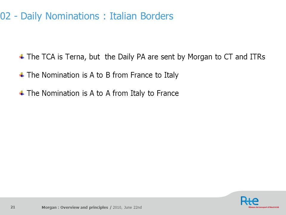 Morgan : Overview and principles / 2010, June 22nd 21 The TCA is Terna, but the Daily PA are sent by Morgan to CT and ITRs The Nomination is A to B fr