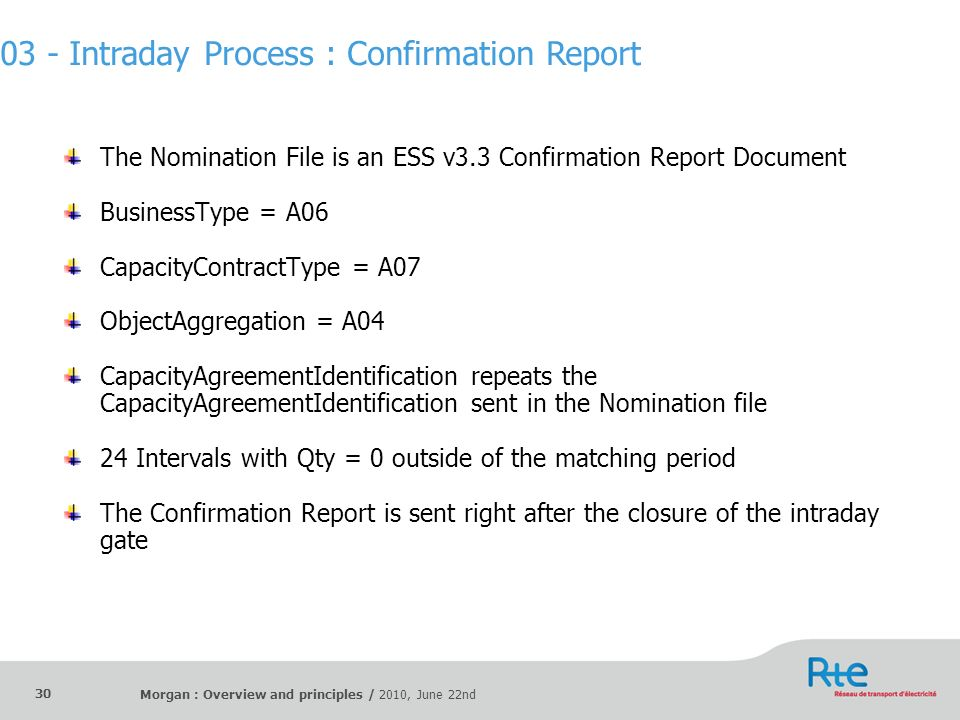 Morgan : Overview and principles / 2010, June 22nd 30 The Nomination File is an ESS v3.3 Confirmation Report Document BusinessType = A06 CapacityContr
