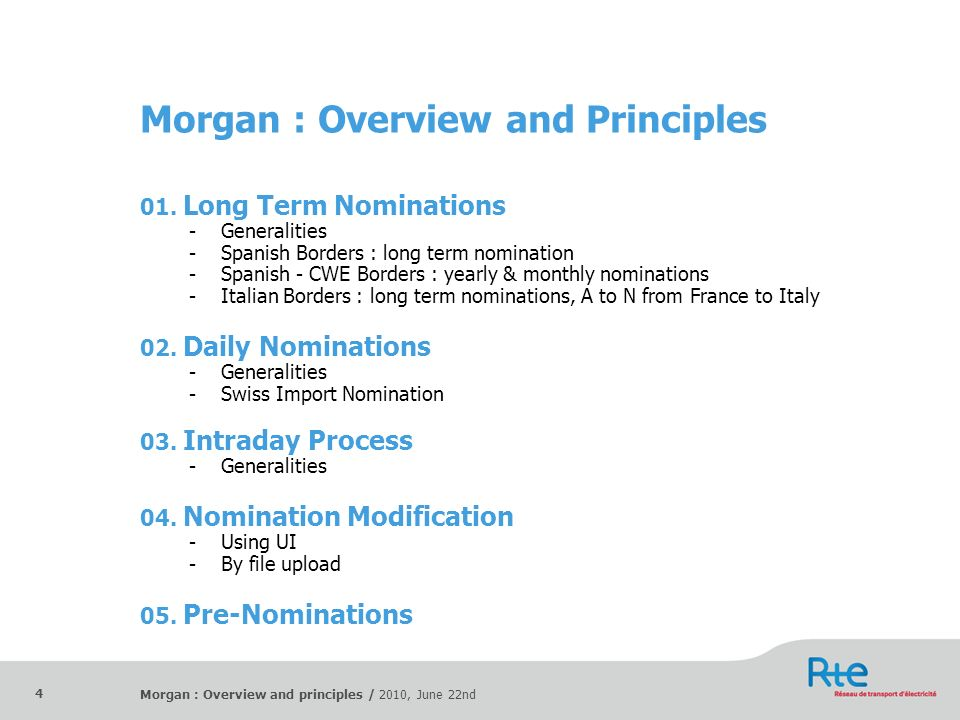 Morgan : Overview and principles / 2010, June 22nd 4 Morgan : Overview and Principles 01. Long Term Nominations -Generalities -Spanish Borders : long