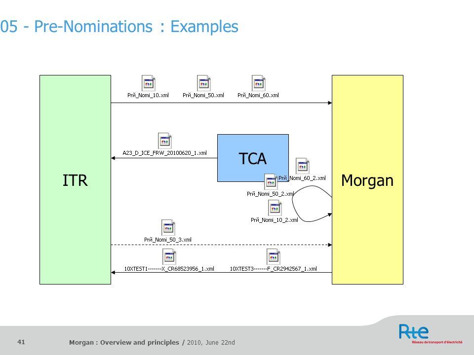 Morgan : Overview and principles / 2010, June 22nd 41 ITRMorgan TCA 05 - Pre-Nominations : Examples
