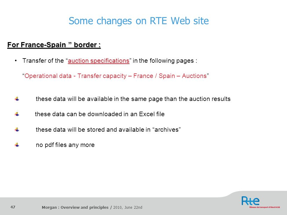 Morgan : Overview and principles / 2010, June 22nd 47 Some changes on RTE Web site For France-Spain border : auction specificationsTransfer of the auc