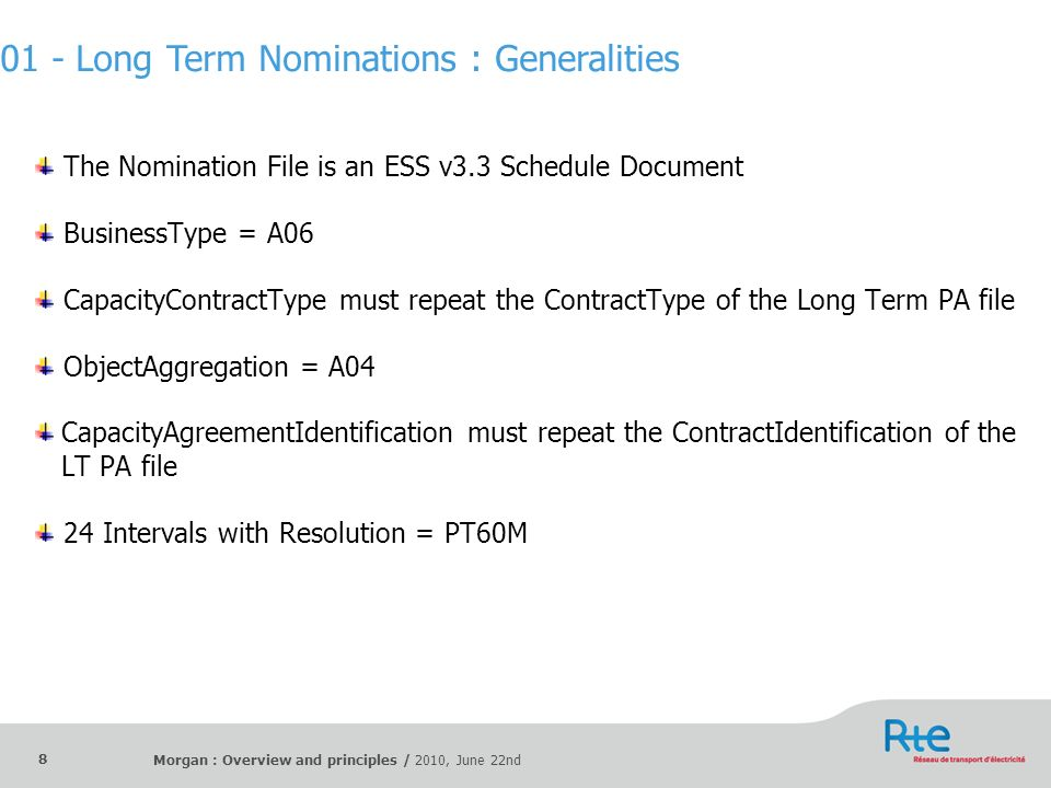 Morgan : Overview and principles / 2010, June 22nd 8 The Nomination File is an ESS v3.3 Schedule Document BusinessType = A06 CapacityContractType must