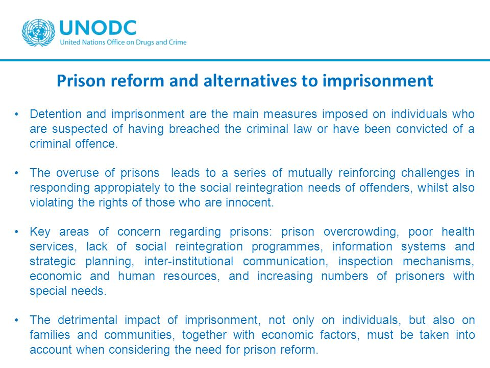 Prison reform and alternatives to imprisonment Detention and imprisonment are the main measures imposed on individuals who are suspected of having bre