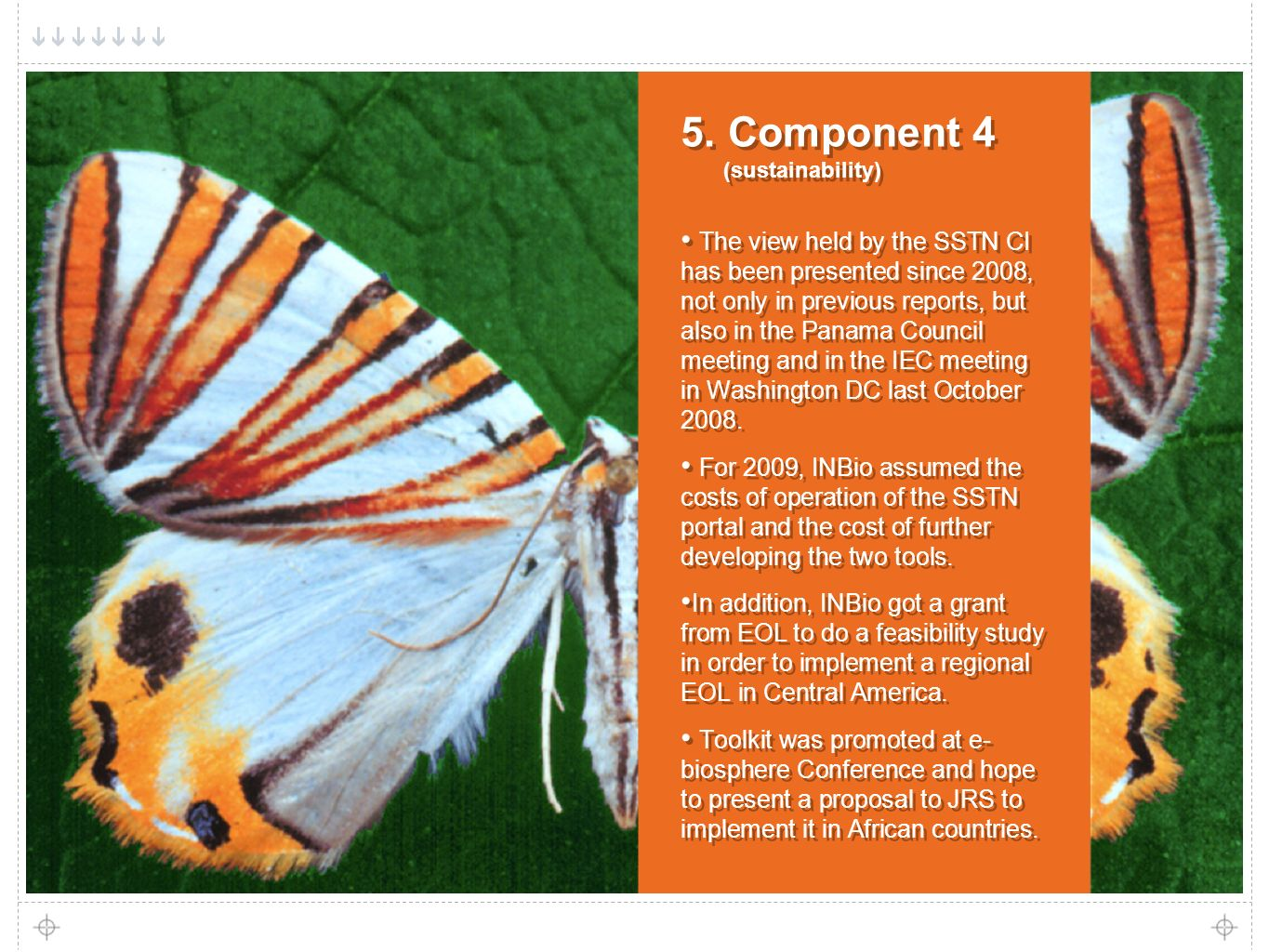 12 5. Component 4 (sustainability) The view held by the SSTN CI has been presented since 2008, not only in previous reports, but also in the Panama Co