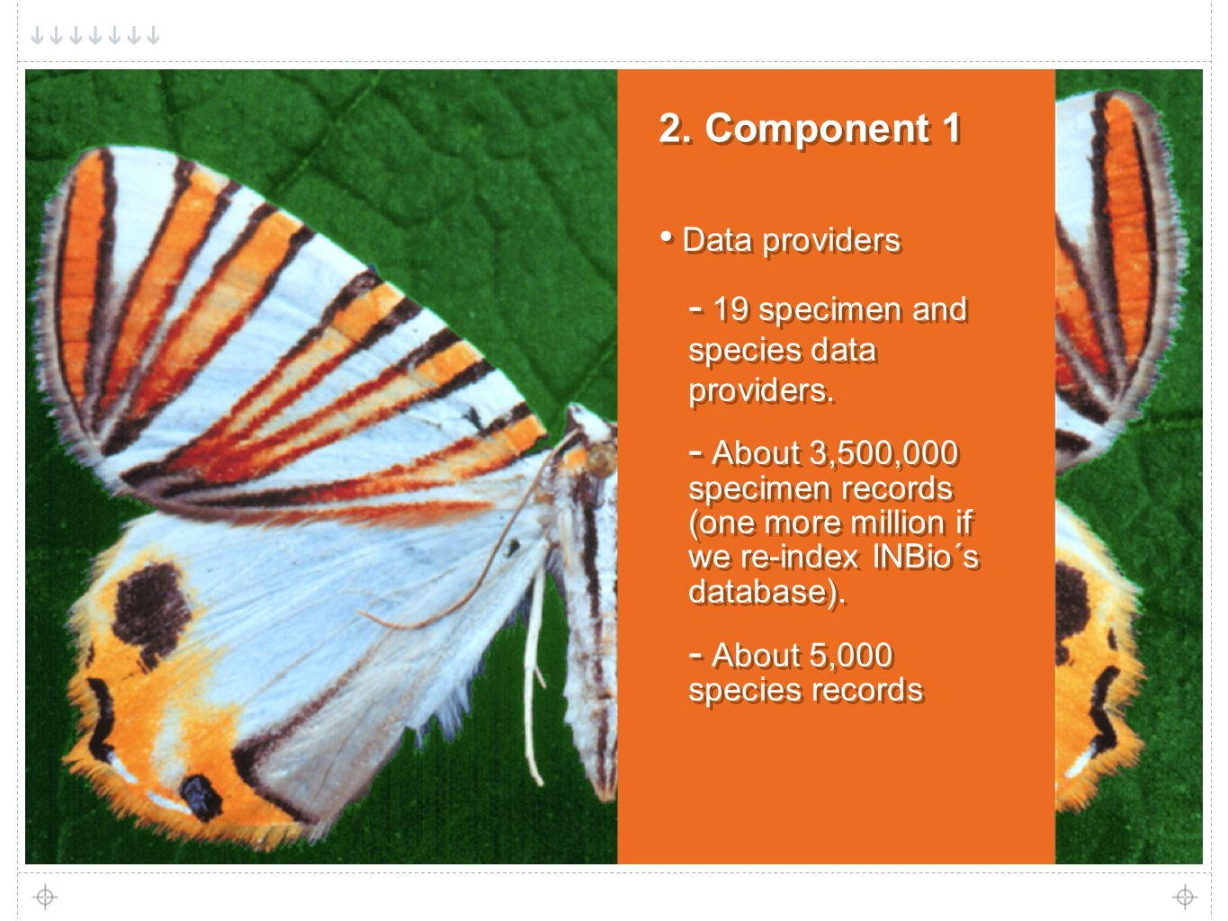 6 2. Component 1 Data providers - 19 specimen and species data providers.
