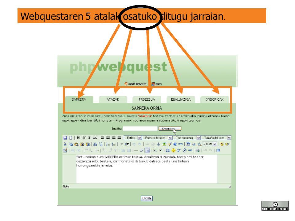 Webquestaren 5 atalak osatuko ditugu jarraian.