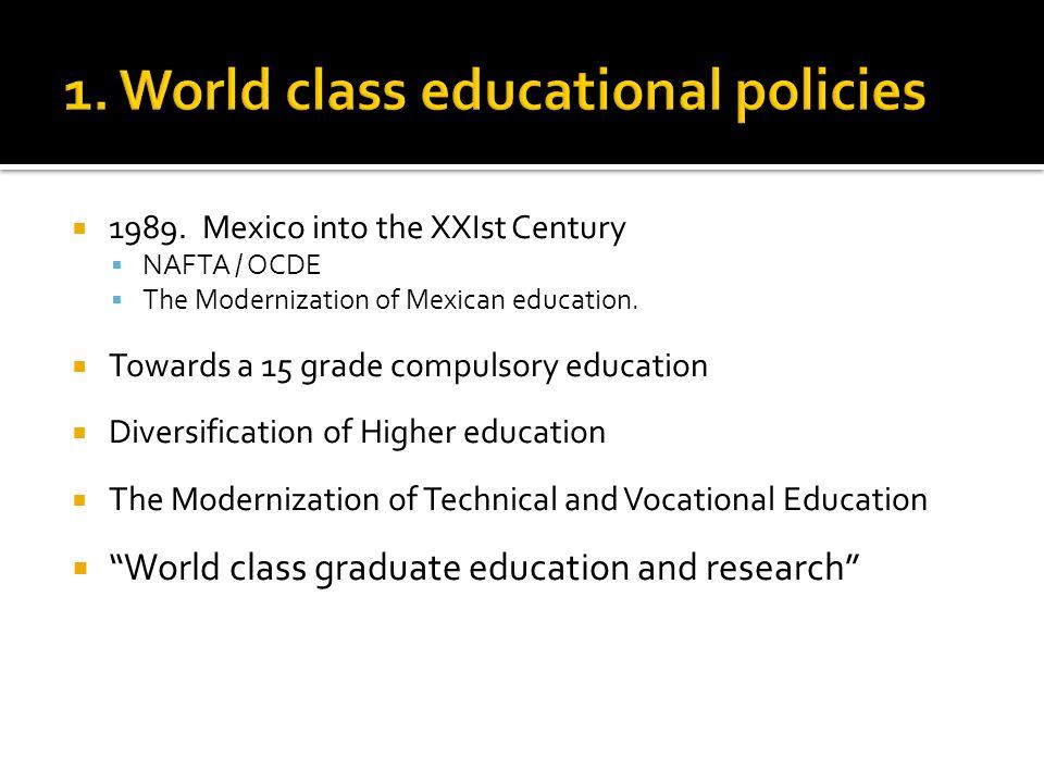 1989. Mexico into the XXIst Century NAFTA / OCDE The Modernization of Mexican education.