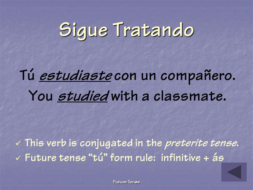 Future Tense Tú ________ con un compañero. (estudiar) estudias estudiaste estudiarás Pruebita The following describes what you will do tomorrow after
