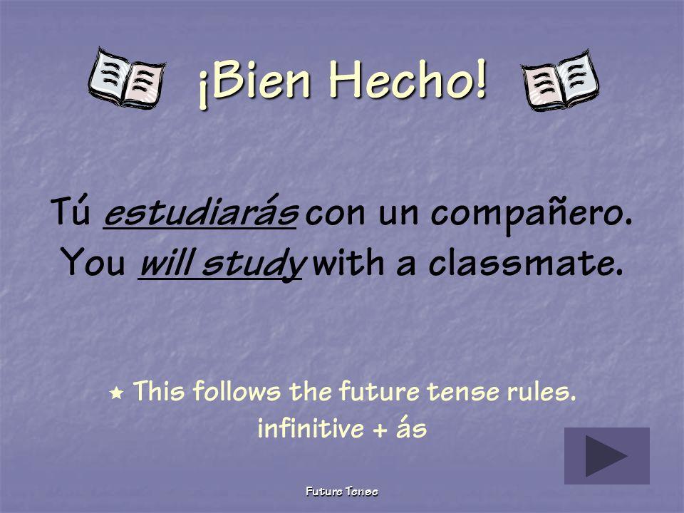 Future Tense Sigue Tratando Tú estudias con un compañero. You study with a classmate. This verb is conjugated in the present tense. Furture tense tú f