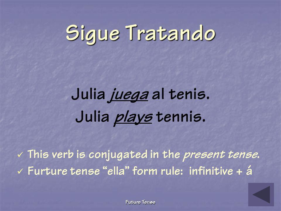 Future Tense Pruebita The following describes what Julia will do tomorrow after school. Choose the correct future tense verb. Julia ________ al tenis.
