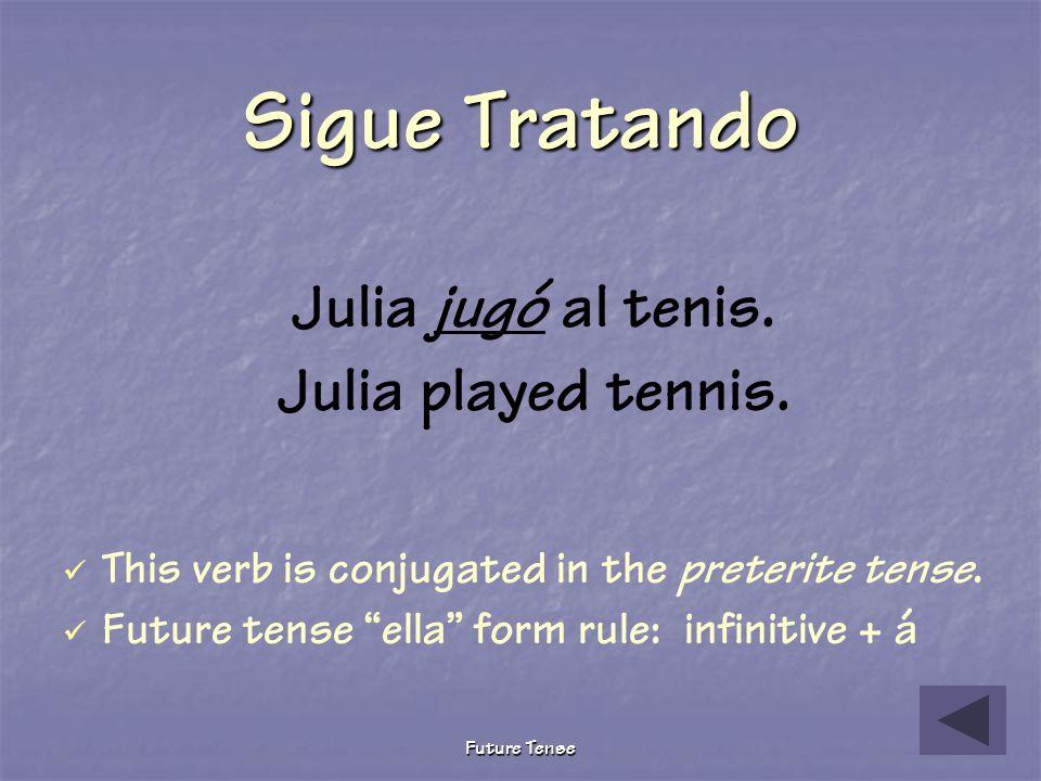 Future Tense Sigue Tratando Julia juega al tenis. Julia plays tennis. This verb is conjugated in the present tense. Furture tense ella form rule: infi