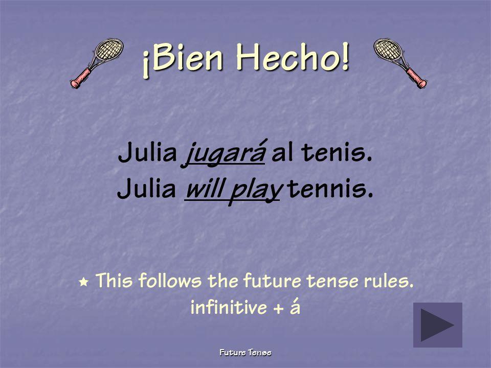 Future Tense Sigue Tratando Julia jugó al tenis. Julia played tennis. This verb is conjugated in the preterite tense. Future tense ella form rule: inf