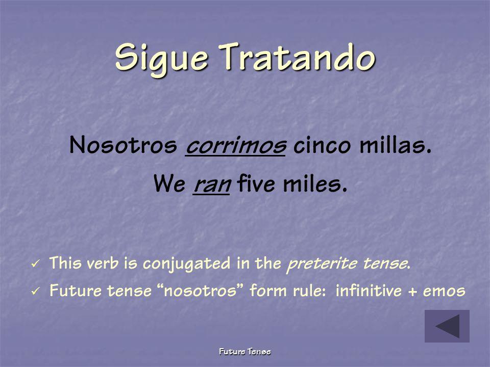 Future Tense Pruebita The following describes what we will do tomorrow after school. Choose the correct future tense verb. Nosotros _________ cinco mi