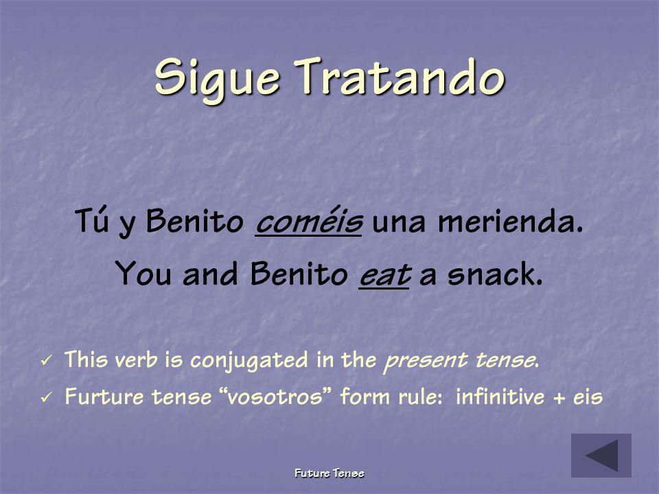 Future Tense Pruebita The following describes what we you and Benito will do tomorrow after school. Choose the correct future tense verb. Tú y Benito