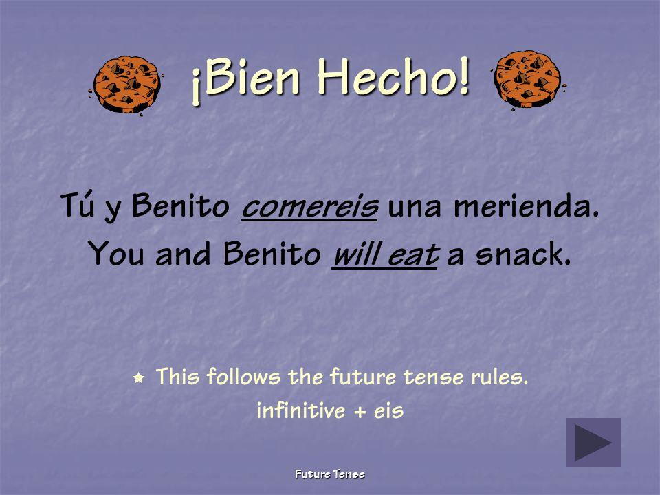Future Tense Sigue Tratando Tú y Benito comisteis una merienda. You and Benito ate a snack. This verb is conjugated in the preterite tense. Future ten
