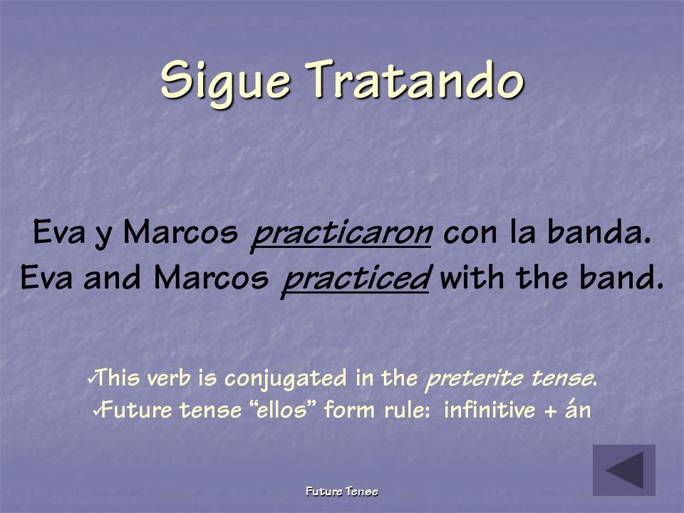 Future Tense Pruebita The following describes what Eva and Marcos will do tomorrow after school. Choose the correct future tense verb. Eva y Marcos __