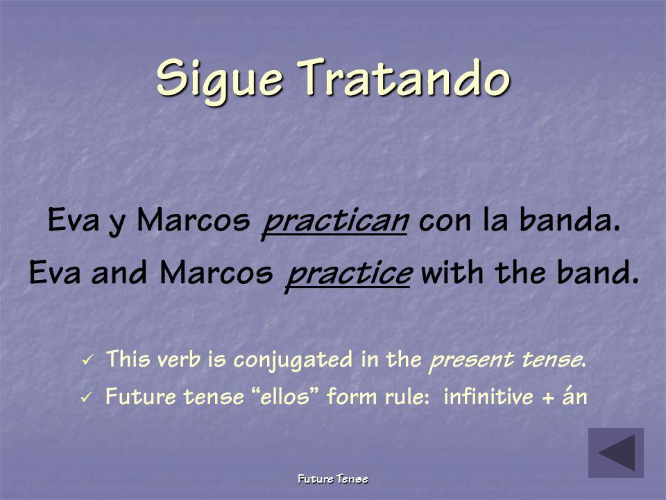 Future Tense Sigue Tratando Eva y Marcos practicaron con la banda. Eva and Marcos practiced with the band. This verb is conjugated in the preterite te