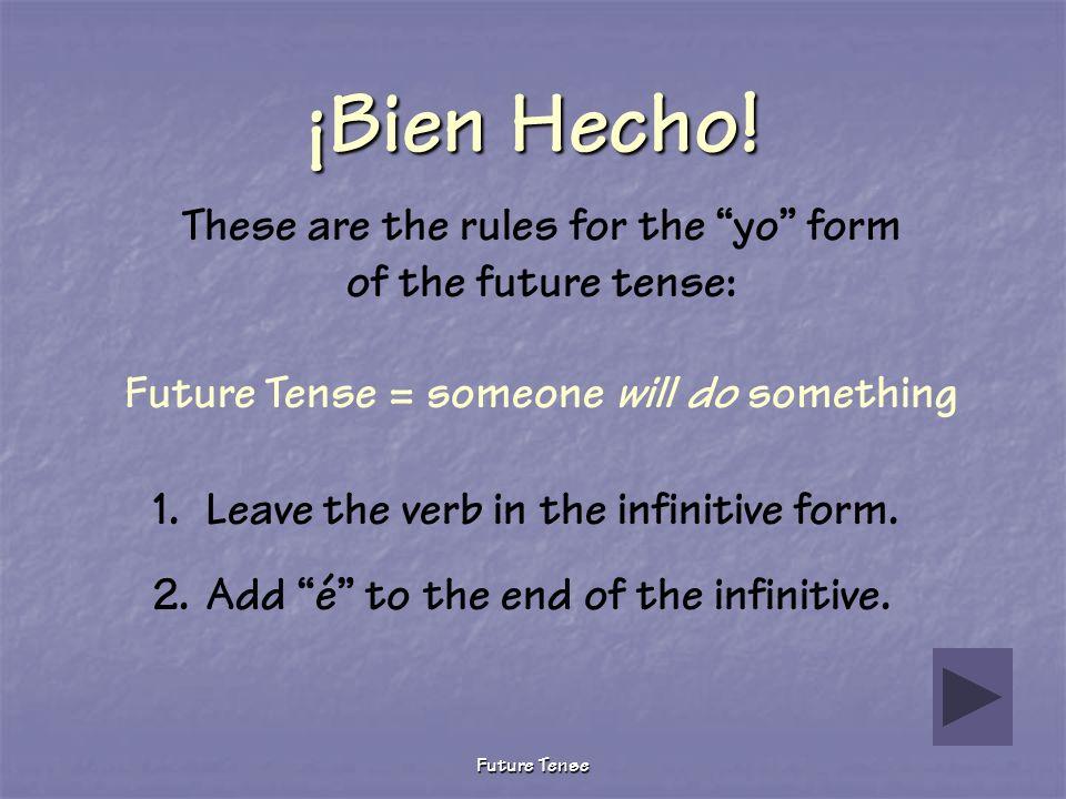 Future Tense Sigue Tratando The word you selected is a noun… a person, place, or thing. Por favor, trata otra vez.
