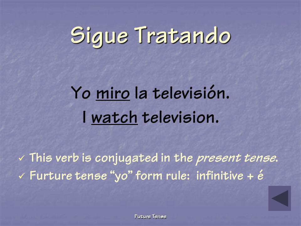 Future Tense Pruebita The following describes what I will do tomorrow after school. Yo _____ la televisión. miro miraré miré Choose the correct future