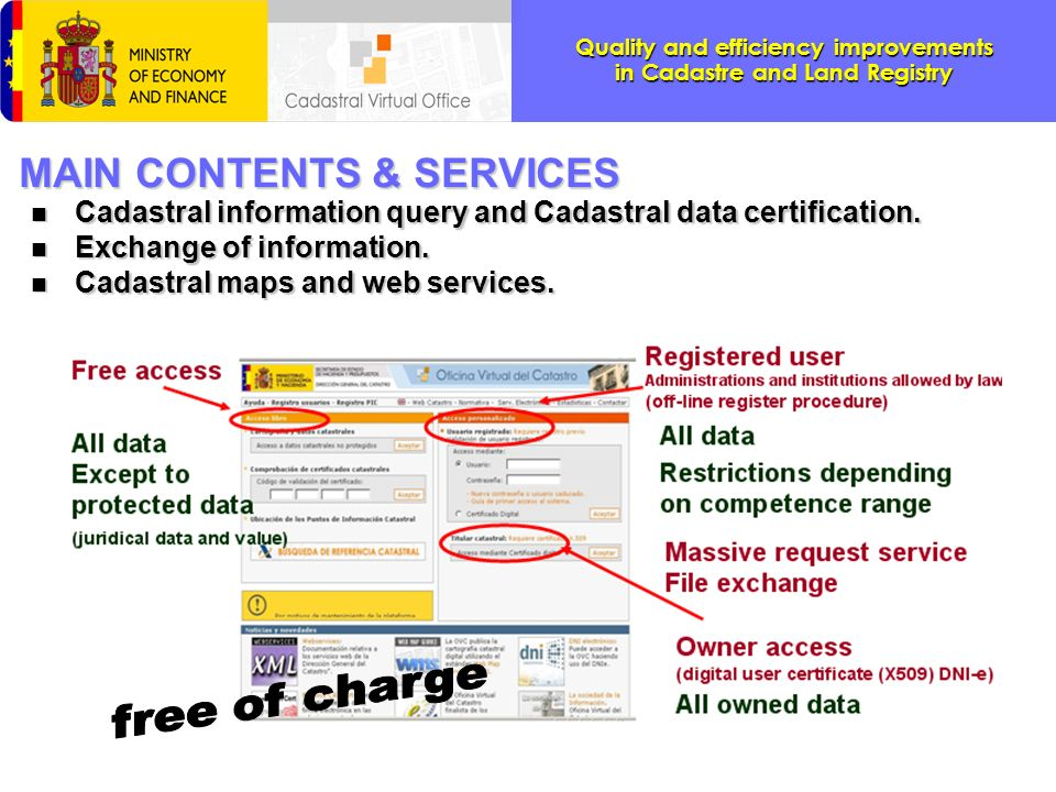 Quality and efficiency improvements in Cadastre and Land Registry Massive exchange of information services n n NOW: Webservices are used for Exchange information The new implanted services already allow on line the update of the cadastral data by collaborating administrations.