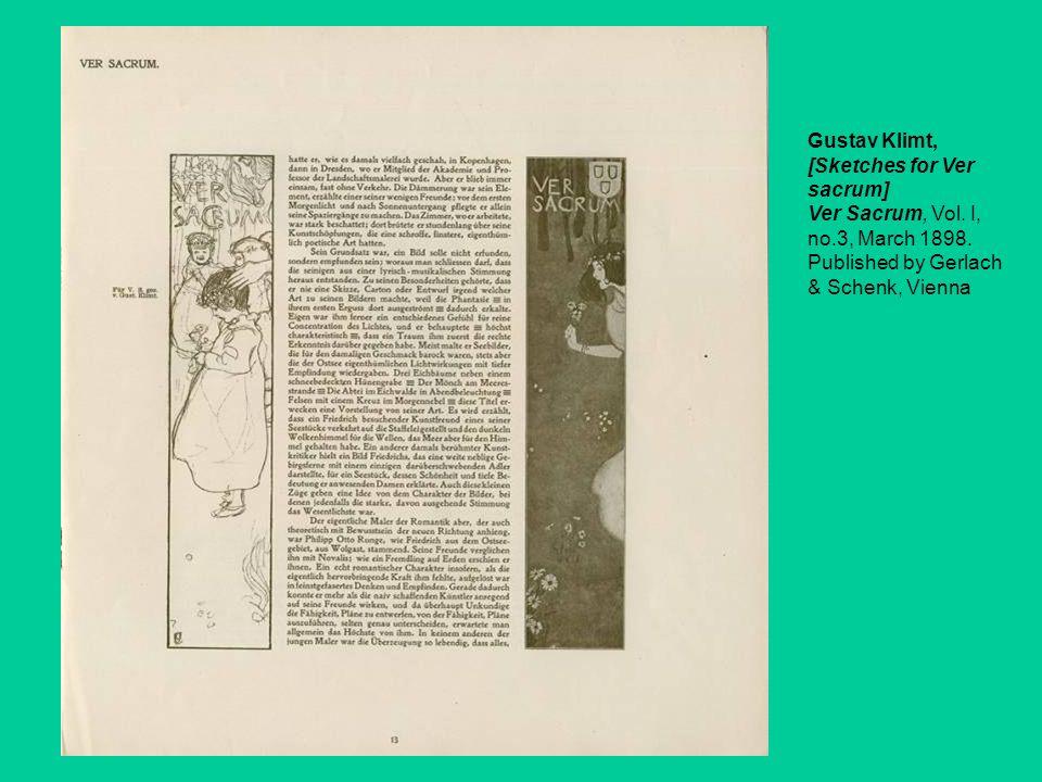 Gustav Klimt, [Sketches for Ver sacrum] Ver Sacrum, Vol. I, no.3, March 1898. Published by Gerlach & Schenk, Vienna
